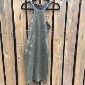 bebe olive and metal midi dress